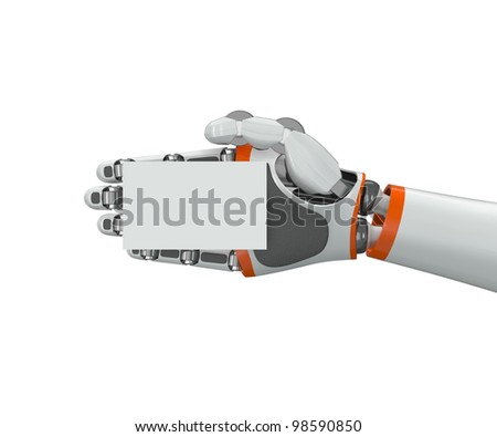 Robot hand holding a blank business card - stock photo