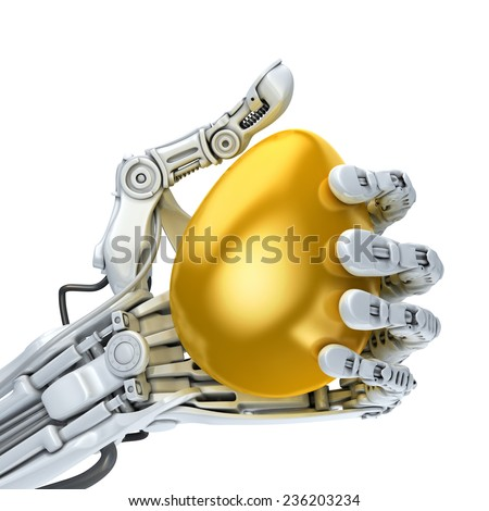 Robot hand  holding a golden Easter egg. Conceptual 3d illustration - stock photo