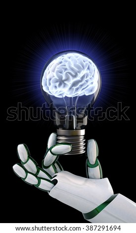 Robot hand holding a light bulb with a brain inside. - stock photo