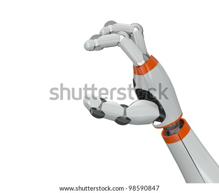 Robot hand holding an empty copy space