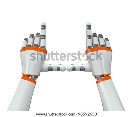 Robot hand holding an imaginary object