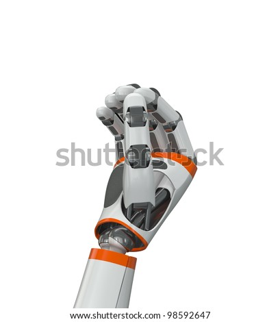 Robot hand holding imaginary object