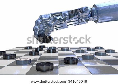 Robot hand playing a game of checkers (draughts), 3D rendering. 64 square, English or Russian board with neutral black and white squares. Representing the blending of tradition and technology.