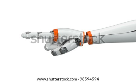 Robot hand pointing index finger