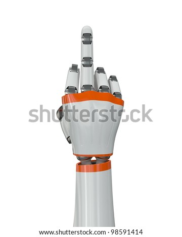 Robot hand showing middle finger - stock photo