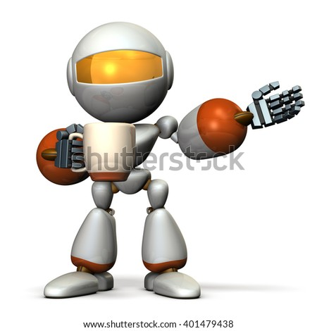 Robot has a greeting while having a cup of coffee in one hand. 3D illustration