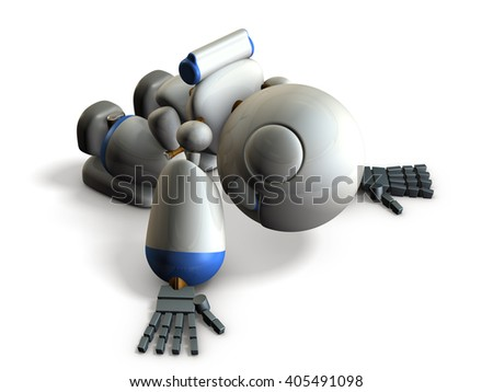 Robot has bowed down because disappointed.  3D illustration - stock photo