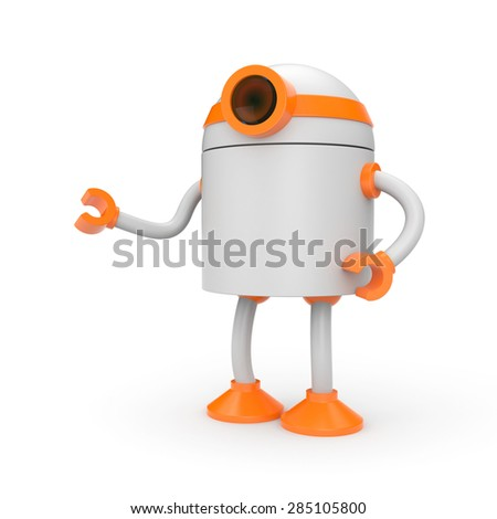 Robot has something to offer - stock photo