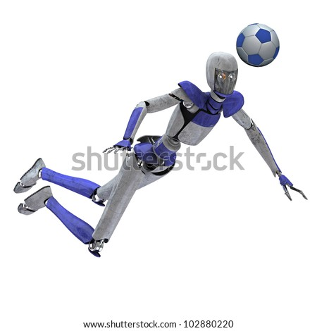 Robot head hit soccer ball - stock photo