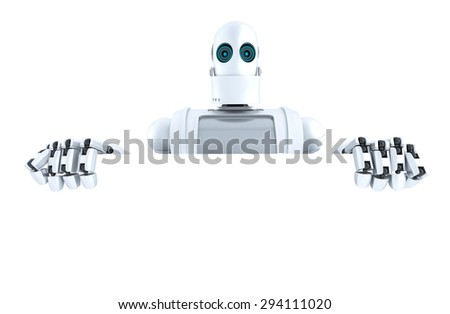Robot holding a blank banner. Isolated over white. Contains clipping path - stock photo