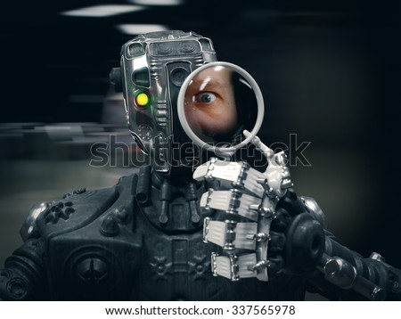 Robot holding a Magnifying glass with human face conceptual composition - stock photo