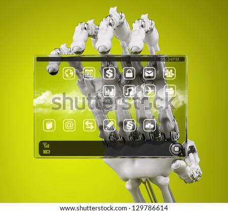 Robot holding a prototype handheld computer - stock photo