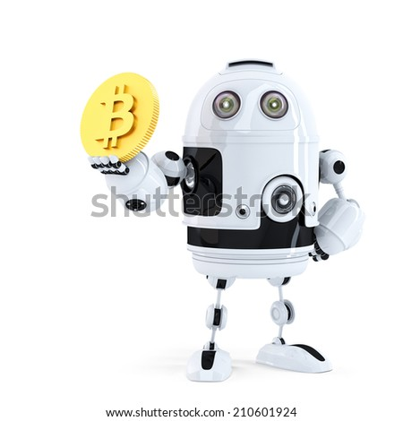 Robot holding Bitcoin. Isolated. Contains clipping path. 3d illustration - stock photo