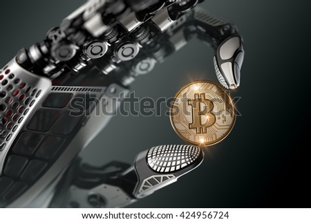 Robot holding bitcoin with fingers in mechanical arm. Closeup 3d rendered image for your conceptual virtual business design template. On dark background. - stock photo