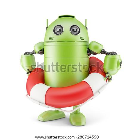 Robot holding life buoy. Isolated on white - stock photo