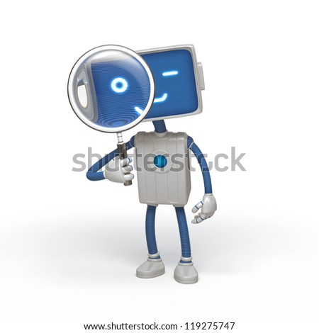 robot holding magnifying glass