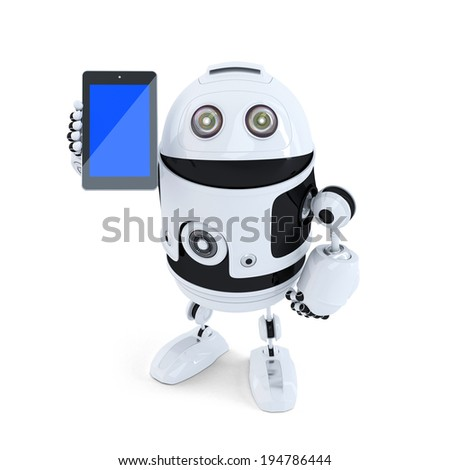 Robot holding mobile phone. Isolated on white background. Contains clipping path - stock photo