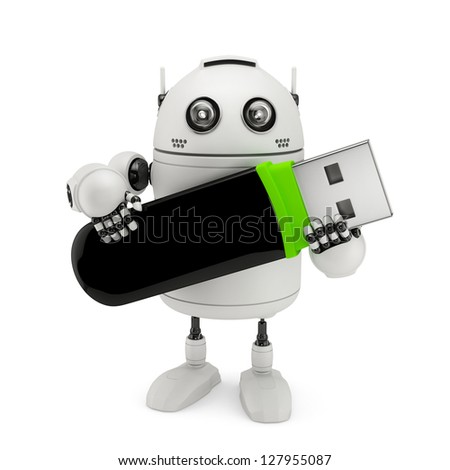 Robot holding usb flash drive. Isolated on white