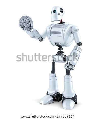 Robot holds a human brain in his hand. Isolated over white. Contains clipping path - stock photo