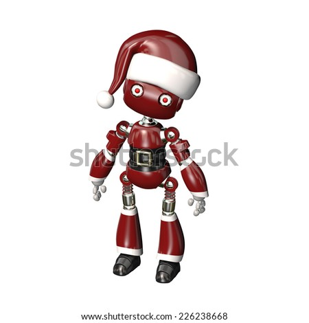 Robot in Santa Hat - A robot wearing a Santa hat and belt with buckle. Isolated on a white background. - stock photo