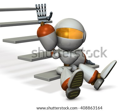 Robot in the foot of the stairs, are beckoning. 3D illustration - stock photo