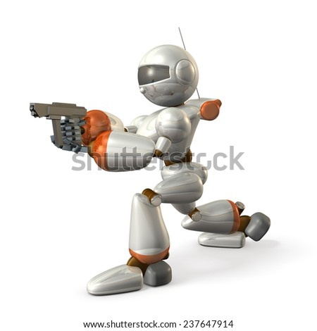 Robot is holding a handgun. isolated, computer generated image, - stock photo