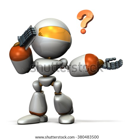 Robot is in trouble because of Interruption. - stock photo
