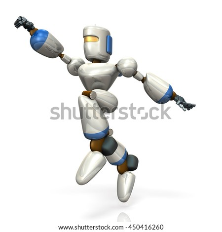 Robot is jumping toward the target. isolated, 3D illustration - stock photo