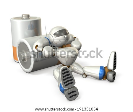 Robot is leaning against the battery. He has short rest. - stock photo