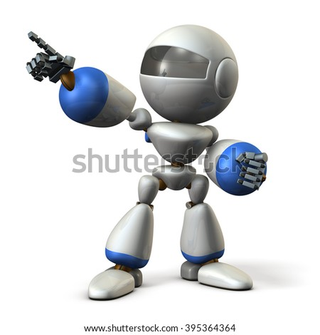 Robot is pointing a target. ,computer generated image - stock photo