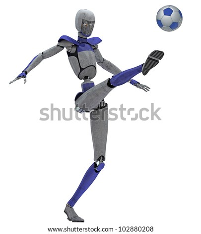 Robot kicking soccer ball - stock photo