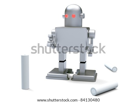 robot kid red eye and Batteries on white background. Isolated 3d model