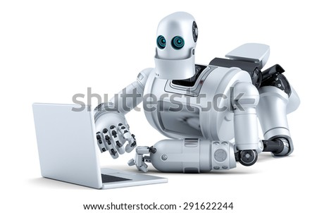 Robot laying on floor with laptop. Isolated over white. Contains clipping path - stock photo