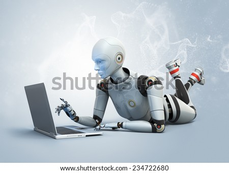 Robot lying on floor and using laptop - stock photo