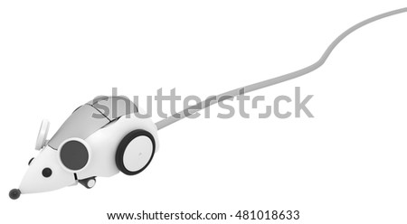 Robot mouse wire connected 3d illustration, horizontal, isolated