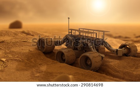 Robot of humans on Mars - stock photo