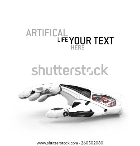 Robot piece of hand glove on white background. Design concept and artificial life. Cyborg android futuristic science. - stock photo