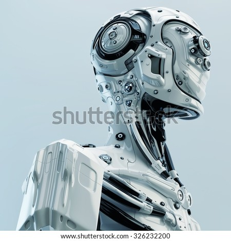 Robot pilot, aviator with multiple optical elements, different lenses to capture all in details - stock photo