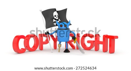 Robot pirate with flag  - stock photo