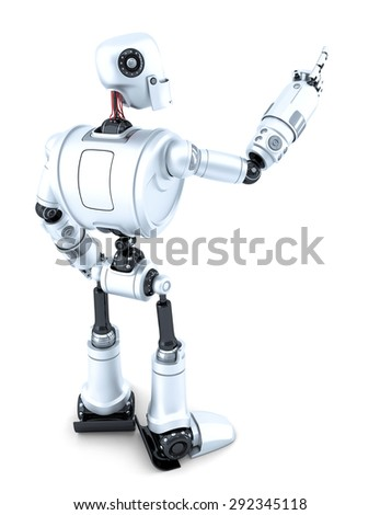 Robot pointing at invisible object. Side view. Isolated over white. Contains clipping path - stock photo
