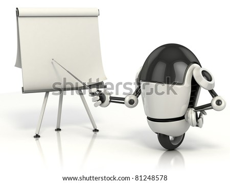 robot pointing on the blank board - stock photo