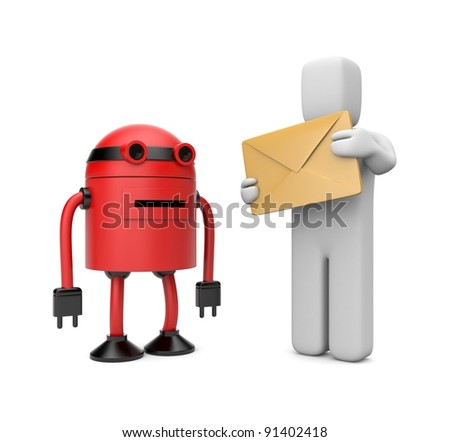 Robot postman - stock photo