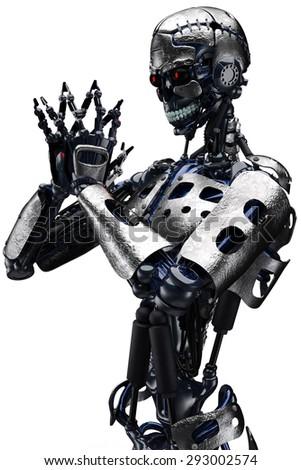 robot praying close up - stock photo