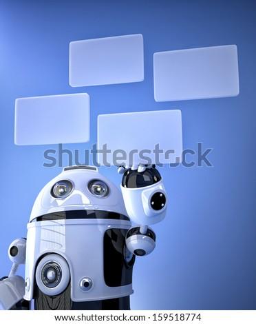 Robot pressing virtual buttons. Technology concept - stock photo