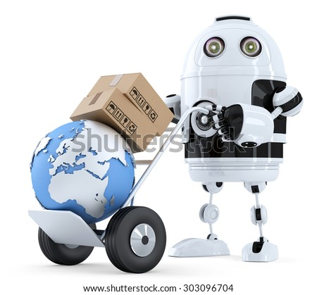 Robot pushing a hand truck with boxes. Isolated over white. Contains clipping path - stock photo