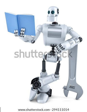 Robot reading book. Isolated over white. Contains clipping path