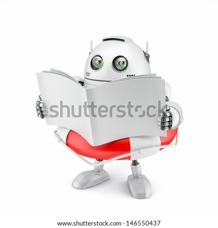 Robot reading manual. Isolated on white