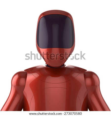 Robot red futuristic cyborg bot android avatar portrait concept. 3d render isolated on white background - stock photo