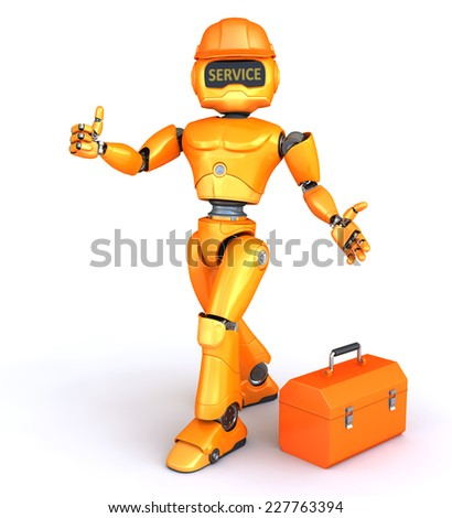 Robot-repairman with toolbox - stock photo