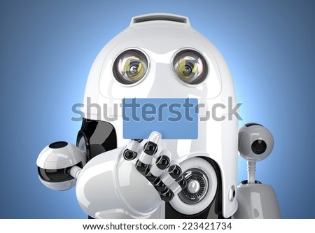 Robot's hand showing business card. Contains clipping path - stock photo